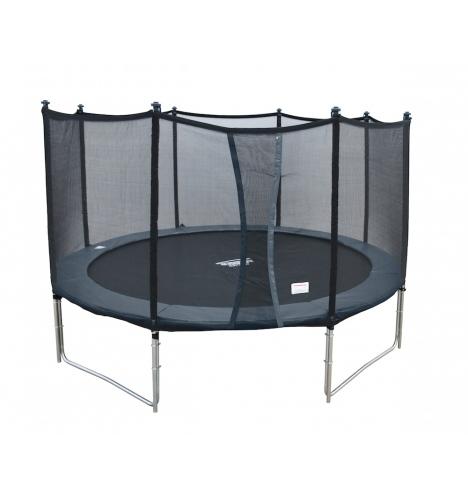 trampoliner paa ben jumpmaster 430 graa inkl sikkerhedsnet 5797